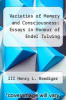 cover of Varieties of Memory and Consciousness: Essays in Honour of Endel Tulving (1st edition)