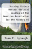 cover of Nursing History Review: Official Journal of the American Association for the History of Nursing