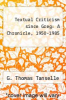 cover of Textual Criticism since Greg: A Chronicle, 1950-1985