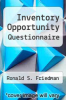 cover of Inventory Opportunity Questionnaire