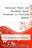 cover of Continual Means and Boundary Value Problems in Function Spaces