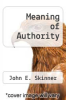 cover of Meaning of Authority
