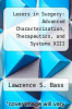 cover of Lasers in Surgery: Advanced Characterization, Therapeutics, and Systems XIII