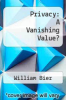 cover of Privacy: A Vanishing Value?