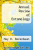 cover of Annual Review of Entomology