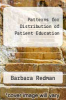 cover of Patterns for Distribution of Patient Education