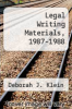 cover of Legal Writing Materials, 1987-1988