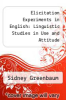 cover of Elicitation Experiments in English: Linguistic Studies in Use and Attitude