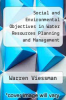 cover of Social and Environmental Objectives in Water Resources Planning and Management