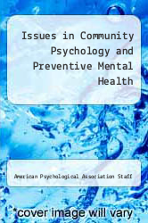 Cover of Issues in Community Psychology and Preventive Mental Health EDITIONDESC (ISBN 978-0877050223)