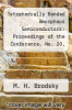 cover of Tetrahedrally Bonded Amorphous Semiconductors: Proceedings of the Conference, No. 20, Yorktown Heights