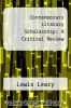 cover of Contemporary Literary Scholarship: A Critical Review