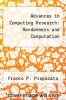 cover of Advances in Computing Research: Randomness and Computation