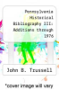 cover of Pennsylvania Historical Bibliography III: Additions through 1976