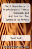 cover of Field Dependence in Psychological Theory Research and Application: Two Symposia in Memory of Herman A. Witkin (1st edition)