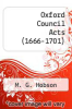 cover of Oxford Council Acts (1666-1701)