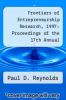 cover of Frontiers of Entrepreneurship Research, 1997: Proceedings of the 17th Annual Entrepreneurship Research Conference (17th edition)