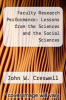 cover of Faculty Research Performance: Lessons from the Sciences and the Social Sciences
