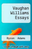 cover of Vaughan Williams Essays