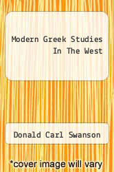 Cover of Modern Greek Studies In The West  (ISBN 978-1258323820)