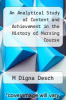 cover of An Analytical Study of Content and Achievement in the History of Nursing Course