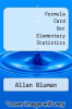 cover of Formula Card for Elementary Statistics (7th edition)