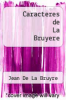 cover of Caracteres de La Bruyere