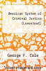 cover of American System of Criminal Justice (Looseleaf) (15th edition)