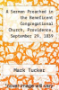 cover of A Sermon Preached in the Beneficent Congregational Church, Providence, September 29, 1839