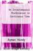 cover of On Intertemporal Preferences in Continuous Time