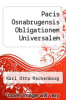 cover of Pacis Osnabrugensis Obligationem Universalem