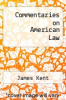 cover of Commentaries on American Law