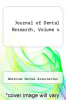 cover of Journal of Dental Research, Volume 4