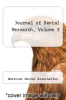 cover of Journal of Dental Research, Volume 3