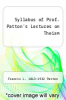 cover of Syllabus of Prof. Patton`s Lectures on Theism