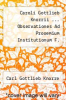 cover of Caroli Gottlieb Knorrii ... Observationes Ad Prooemium Institutionum F. Iustiniani Imp