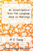 cover of An Investigation Into the Language Used in Meetings