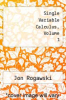 cover of Single Variable Calculus, Volume 1