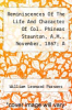 cover of Reminiscences Of The Life And Character Of Col. Phineas Staunton, A.M., November, 1867; A Sermon On The Death Of Miss Marietta Ingham, One Of