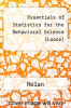 cover of Essentials of Statistics for the Behavioral Science (Loose) (3RD 16)