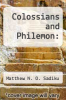 cover of Colossians and Philemon: