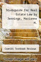 Cover of Studyguide for Real Estate Law by Jennings, Marianne M. EDITIONDESC (ISBN 978-1490227917)