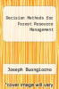cover of Decision Methods for Forest Resource Management