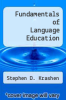cover of Fundamentals of Language Education (1st edition)