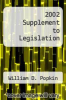 cover of 2002 Supplement to Legislation