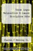 cover of Texas Legal Malpractice & Lawyer Discipline 2016