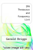 cover of IPA Thesaurus and Frequency List (6th edition)