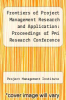 cover of Frontiers of Project Management Research and Application: Proceedings of Pmi Research Conference