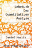 cover of Lehrbuch Der Quantitativen Analyse