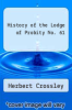 cover of History of the Lodge of Probity No. 61